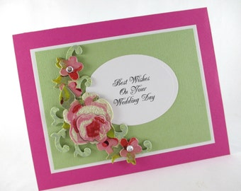 Wedding day card, congratulations, wedding card, elegant, romantic, 3D card
