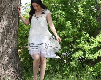 upcycled clothing, ethical fashion, romantic lace dress . shalimar . S - M