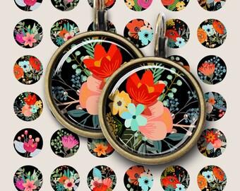 12 mm and 18 mm size images SUMMER JOY Printable Digital download for pendants bracelets earrings bezel settings rings cufflinks. ArtCult