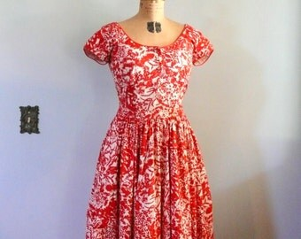1950s Red Floral Jerry Gilden Dress