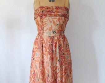 1960s Dress // Chiffon floral dress
