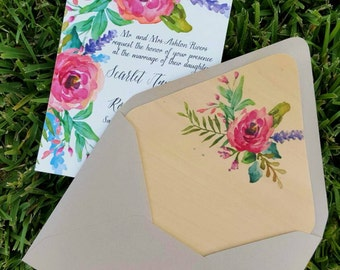 Spring Watercolor Floral Letterpress Wedding Invitations, Watercolor Wedding Invitation, Letterpress Wedding Invite, Rustic Garden Wedding