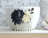 Black and Ivory Flower Hair Comb, Black Rose, Leaf Antiqued Brass Rose Comb. Winter Garden Wedding, Prom, Bridesmaids Gift. Winter Rustic