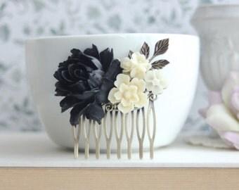 Black Rose Off White Flowers Hair Comb Black Wedding Bridal Hair Comb Bridesmaid Gift Gothic Wedding Hair Comb Goth Halloween Funeral Comb