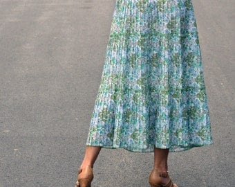 70s Skirt Floral Skirt Accordion Pleats Size M