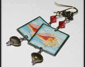 Caribbean Shore... Handmade Jewelry Earrings Beaded Crystal Beach Seashell Conch Shells Shell Antique Brass Metal Aqua Blue Pink Lavender