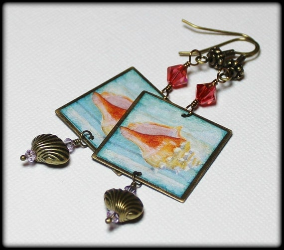 Unique Beaded Periwinkle Seashell Coloring Page: Caribbean Shore... Handmade Jewelry Earrings Beaded Crystal