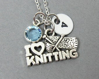 I Love Knitting Necklace - Handstamped Initial, Personalized Name, Customized Swarovski crystal birthstone
