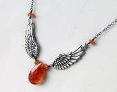 RESERVED FOR D. Sunstone Necklace, Angel Wing Necklace, Oxidized Sterling Silver - Sun Faerie by CircesHouse on Etsy