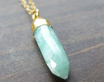 SALE Amazonite Point Gold Necklace OOAK