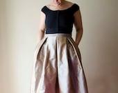 Gold Maxi Skirt, Silk Taffeta Long Evening Skirt with Pleats and Pockets, Prom Skirt, Bridesmaids Skirt, Customize color and length