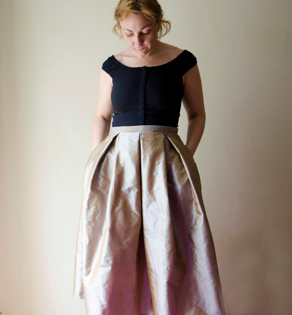 Gold Maxi Skirt Silk Taffeta Long Evening Skirt with Pleats