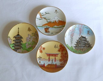 "vintage Japanese plates, 4 small plates by Shibata, 4"", Japanese ceramic art, Japanese images, four seasons"