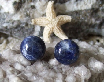 Sodalite 10mm Stud Earrings Titanium Posts and Clutches Made in Newfoundland Deep Blue Hypo Allergenic