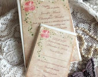 Vintage Romantic Roses and Ivy Wedding Invitation Handmade by avintageobsession on etsy