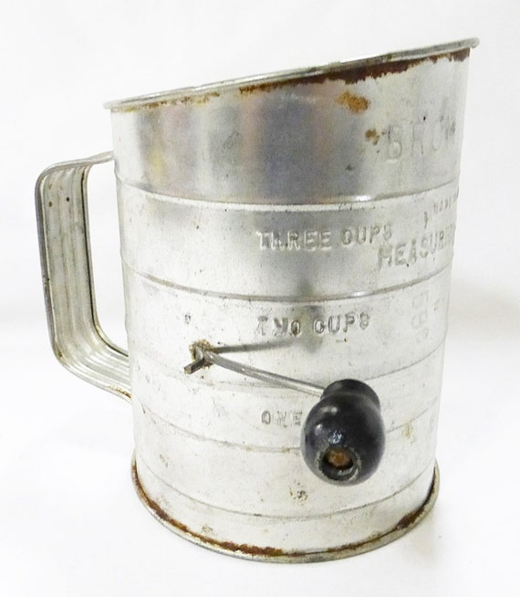 Metal Sifter Antique Seed Flour Rustic Tin Can Bromwells