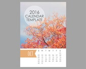 5x7 Size 2016 Calendar Template, 12 month whimsical calendar, Downloadable file for photographers, Print Your Own Calendar, Instant Downlaod