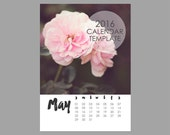 2016 Calendar Template, 5x7 size loose sheet 12 month whimsical calendar, Downloadable file for photographers, Print Your Own Calendar