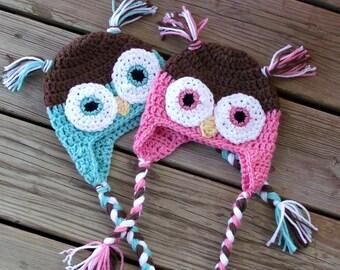 Twin Owl Baby Hats, Baby Owl Hats, Twin Baby Girls, Twin Baby Boys, Newborn Twins, Twin Boy and Girl Baby Shower Gift, Twin Photo Props