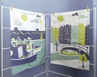 Amsterdam Tea Towel, Large Dish Cloth Set