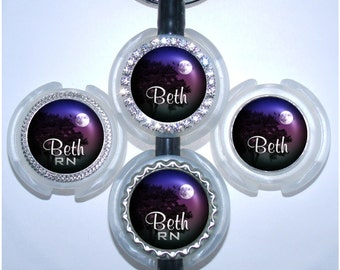 Stethoscope Name Tag - Personalized Purple Night Sky Nurse Id, Bottle Cap Id Tag (A119)