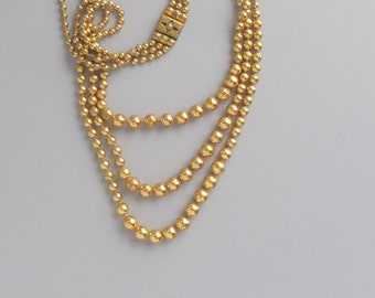 Art Deco Necklace. Brass Ball Chain. Graduated 3 Strand.