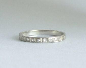 Art Deco Eternity Ring. 1920s Diamond Wedding Band. 18k White Gold. Etched Geometric Pattern.