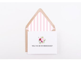 Will You Be My Bridesmaid, Digital Folded Card With Envelope Liner, Wedding Stationery, Instant Download