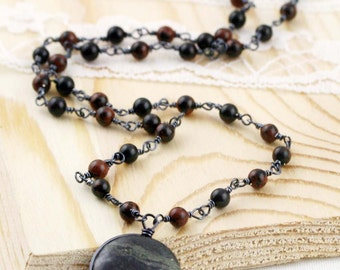 Strength and protection unisex necklace - mahogany obsidian, black gold amazonite