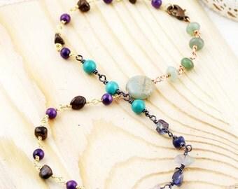 Seasons double wrap bracelet - jaspers, dumortierite, aventurine, fluorite, turquoise and bronzite