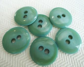 Seafoam Vintage Buttons - 6 Mid Century Sew Through