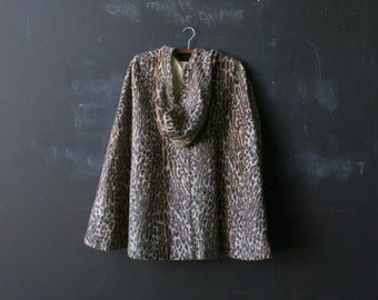 Vintage 70s Faux Fur Leopard Skin Cape With Hood Hand Made Bohemian Fashion Vintage From Nowvintage on Etsy