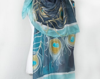 Feathers scarf/ Hand painted shawl wrap/ Navy blue and aqua scarf painted/ Peacock scarf/ Mother's Day gift/ Luxury scarves/ Birthday gift