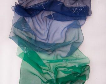 Silk chiffon scarf Dandelions dance. Hand painted silk scarf. Blue green ombre scarf. Summer fashion scarf. Silk painting Klara/ Bridesmaids