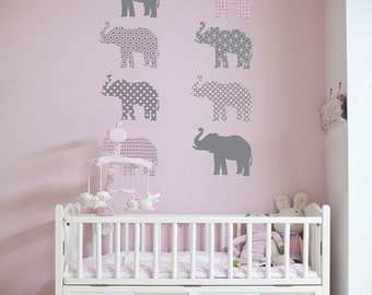 8 Patterned Gray and Pink Elephant Wall Decals, Removable and Reusable Eco-friendly Wall Stickers