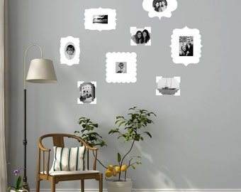 5 White Photo Frame and 3 Photo Corners Wall Decals reusable and removable