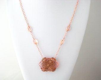 OOAK Filigree Art Cut Glass Beaded Necklace, Light Peach Rose Gold Glass Necklace, Boho Long Necklace, Great Gift Idea