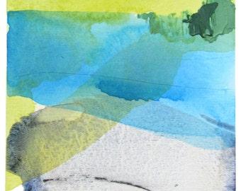 "Contemporary Landscape Art Print, giclee, 5x7"" or 8x10"", blue, green, purple  ""Landscape 4"" watercolor abstract print, modern art"