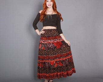 80s GAUZEY Ethnic Print SKIRT / 1980s Boho Tiered Full MAXI
