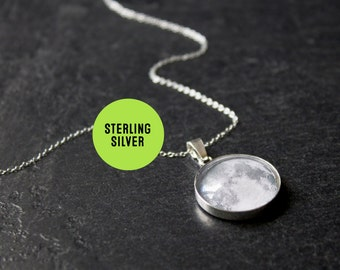 Sterling Silver Full Moon Necklace - Moon pendant - Solar System Necklace - Luna Necklace - Moon Phases Necklace