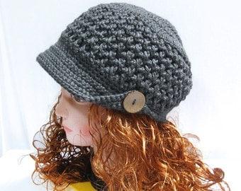 Crochet Newsboy Hat Pattern -Ladies Brim Newsboy Crochet Hat PDF n58