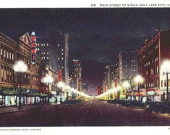 Vintage Utah Postcard - Main Street by Night, Salt Lake City (Unused)
