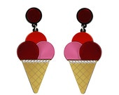 Triple Ice Cream Cone earrings - Pink Red Orange