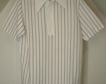 Vintage Shirt by Lord Jeff Jefftron White Collar Ban Lon Golf Made USA 100% Dacron Polyester Double Knit Size L