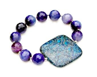 Blue Jasper Bracelet, STATEMENT Bracelet, Purple Agate Bracelet, Statement Jewelry, Stackable, High Fashion Celebrity Style by Mei Faith