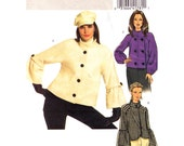 Womens Jacket Pattern Butterick 5088 Button Front Coat Raglan Bell Sleeve Womens Sewing Pattern Size 6 to 12 or 14 to 20 UNCUT