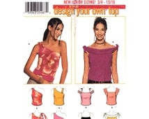 Off Shoulder Top Pattern Simplicity 7020  Summer Top One Shoulder Top Tied Straps Flounce Sleeve Juniors Sewing Pattern Size 3 to 10 UNCUT