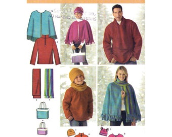 Fleece Top Cape Neck Warmer Scarf Bag & Hat Pattern Simplicity 4324 Child Teen Adult Accessories Sewing Pattern Size XS S M L XL UNCUT