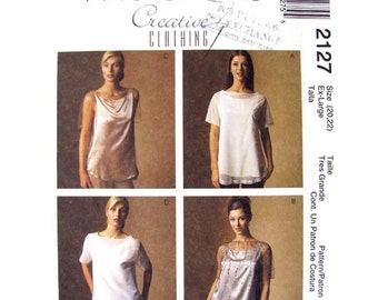 Womens Top & Camisole Pattern McCalls 2127 Bateau Neckline Embellished Shell Top Plus Size 20 22 UNCUT