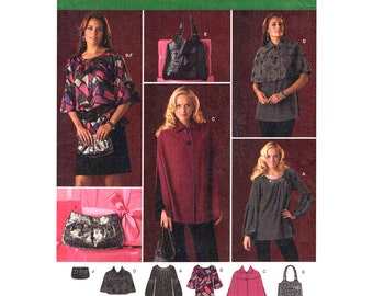 Cape Capelet Tunic Pattern Simplicity 2735 Pullover Top Lantern or Flounce Sleeve Womens Sewing Pattern Size 6 to 14 UNCUT